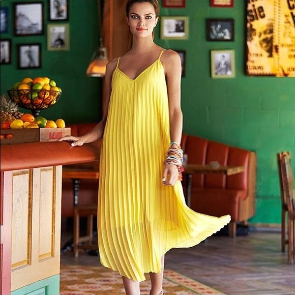 b78c2fb60b1 Bar III Dresses   Skirts - Bar III Yellow accordion Pleat Maxi Dress